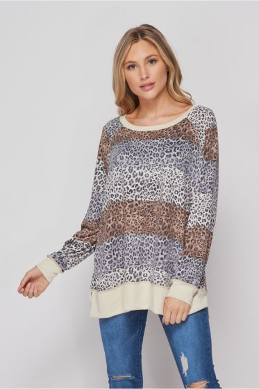 Honeyme Cute! Cheetah Animal Print Long Sleeve Sweater Top