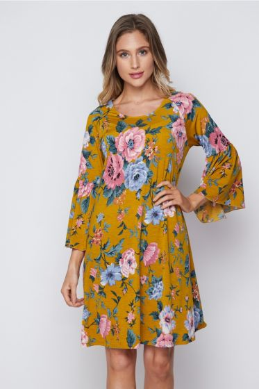 Honeyme Dress with Bell Sleeves - Mustard Yellow & Pink Floral Print
