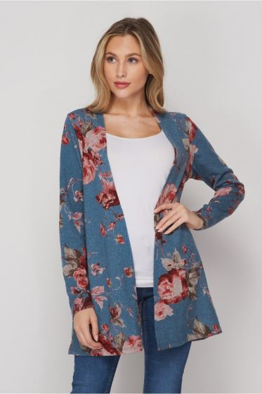 Honeyme Pink Roses Sweater Cardigan - Teal/Burgundy