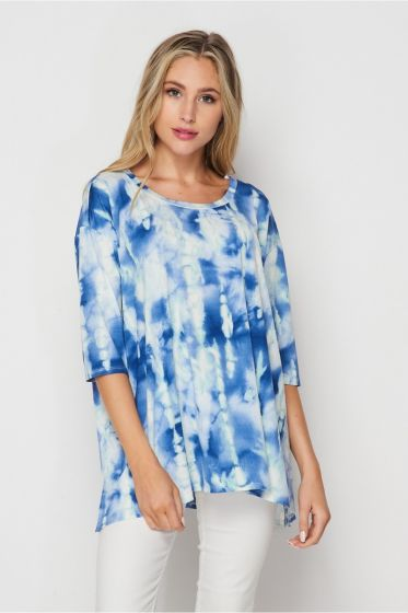 Honeyme Tie-Dye Tunic Top with 3/4 Sleeves - Blue & White