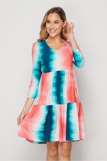 Honeyme Tie-Dye Dress with 3/4 Sleeves - Jade & Coral