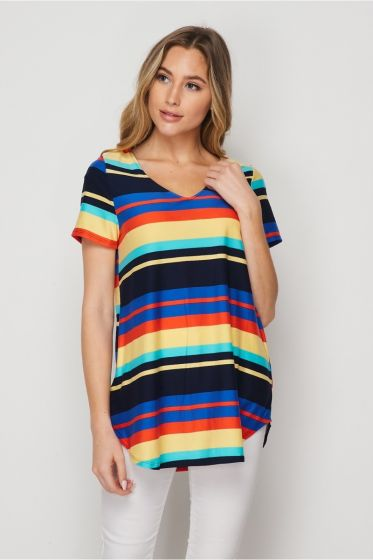 Honeyme USA Clothing V-Neck Short Sleeve Top - Multicolor Stripes
