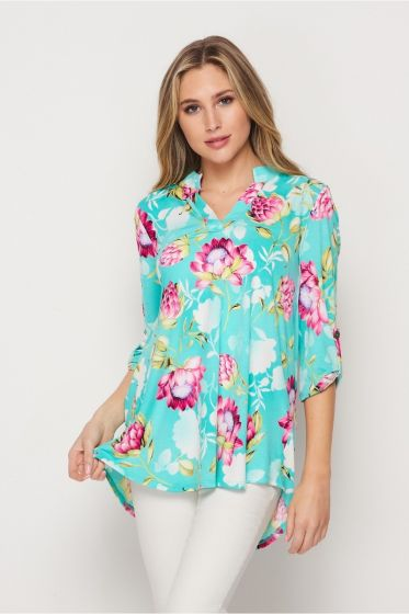 Honeyme Gabby Blouse Top with 3/4 Sleeves - Pink & Aqua Flower Print