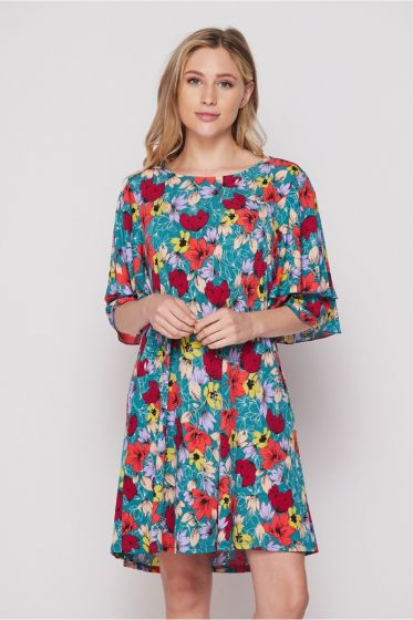 Honeyme USA Ruffle Sleeve Dress with Pockets - Red & Teal Floral Print