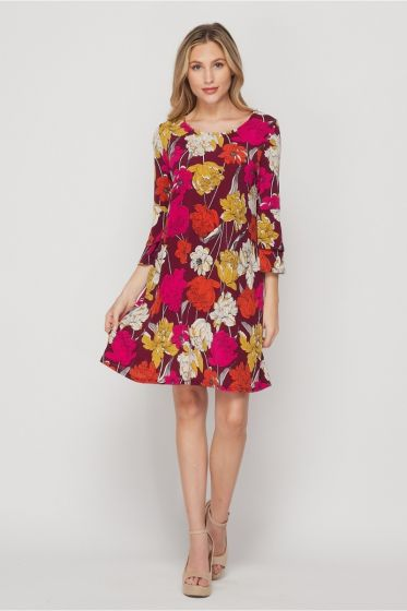 Honeyme Swing Dress with Bell Sleeves - Red/Fuchsia Floral Print