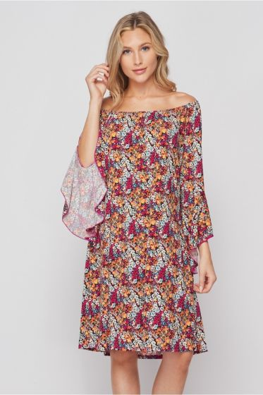 Honeyme Off the Shoulder Dress with Flared Sleeves - Red/Orange Mini Floral Print