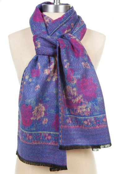 100% Cashmere Scarf by Rapti - Red & Blue Rose Pattern