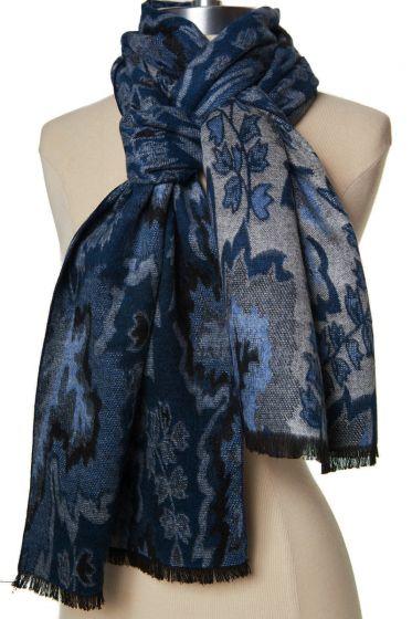 100% Cashmere Scarf by Rapti - Dark Blue Leaf Pattern