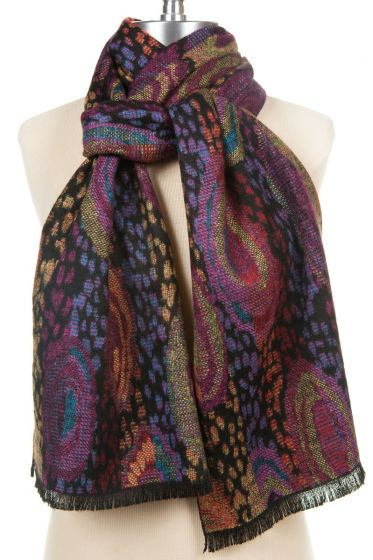 100% Cashmere Scarf by Rapti - Colorful Swirls & Spots