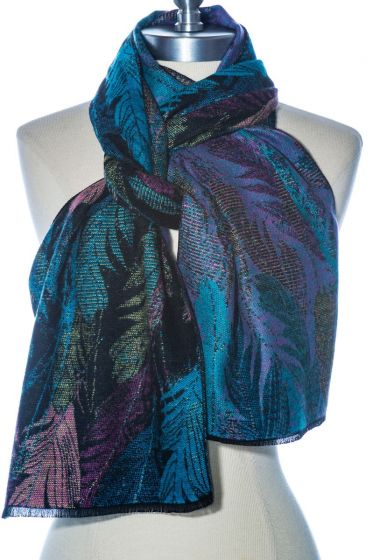100% Cashmere Scarf by Rapti - Colorful Feathers Pattern