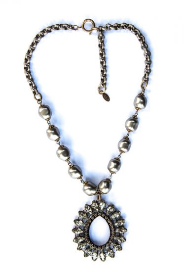 Catherine Popesco Pearl and Crystal Teardrop Pendant Necklace