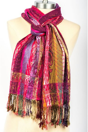Luxurious! Silk Blend Lycra Hand Made Scarf by Rapti Fashion - Pink Stripes
