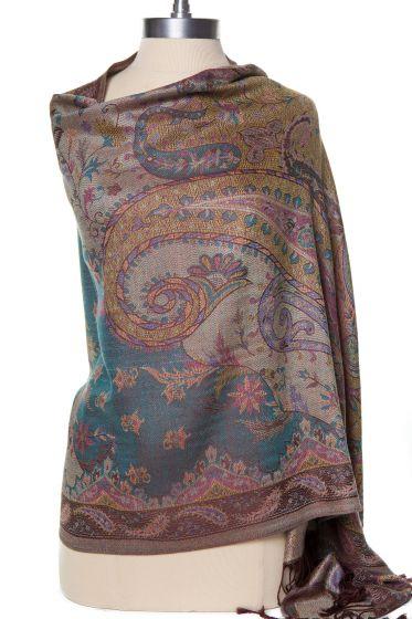 Fabulous! Silk & Pashmina Paisley Design Shawl Wrap by Rapti - Brown, Teal, Pink