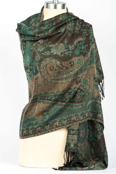 Fabulous! Silk & Pashmina Paisley Design Shawl Wrap by Rapti - Green & Brown