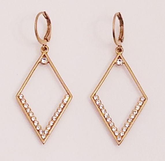 Catherine Popesco Open Diamond Shaped Crystal Earrings