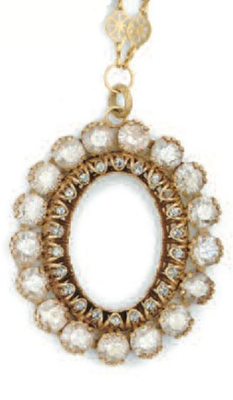 Catherine Popesco Crystal Oval Necklace - Shade and Gold