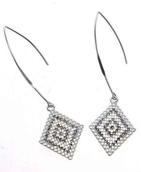 Mat Silver Long Drop Diamond Shape Crystal Earrings by Sweet Lola