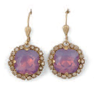 Catherine Popesco Large Stone Earrings With Crystals - Assorted Colors