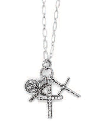 Catherine Popesco Silver Three Cross Charm Crystal Necklace