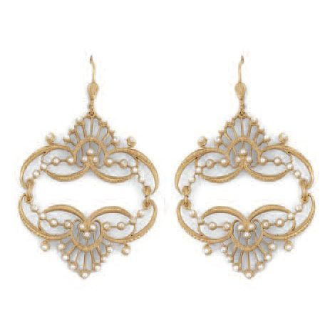 Catherine Popesco Mirrored Tiara Pearl Gold Earrings