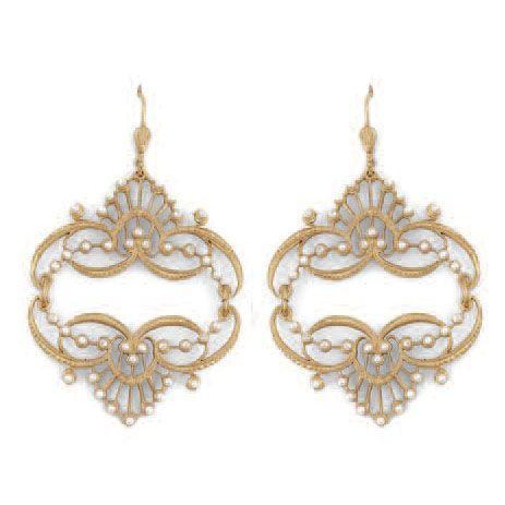 Catherine Popesco Mirrored Tiara Pearl Gold Earrings