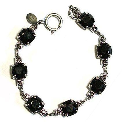 Medium Stone Crystal Bracelet - Jet Black and Silver