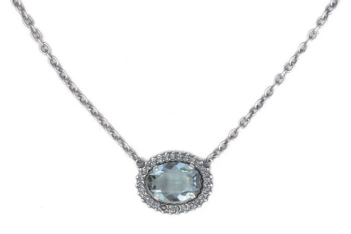 Catherine Popesco Oval Crystal Frame Necklace - Assorted Colors