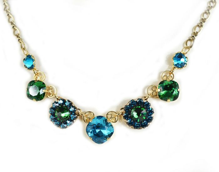 Clara Beau Jewelry Spring Gold Teal Blue & Emerald Green Crystal Necklace