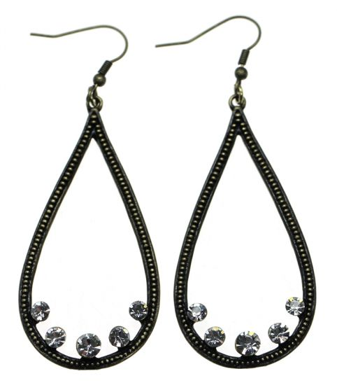 Sweet Lola Earrings Antique Bronze Tear Hoop with 5 Clear Crystals