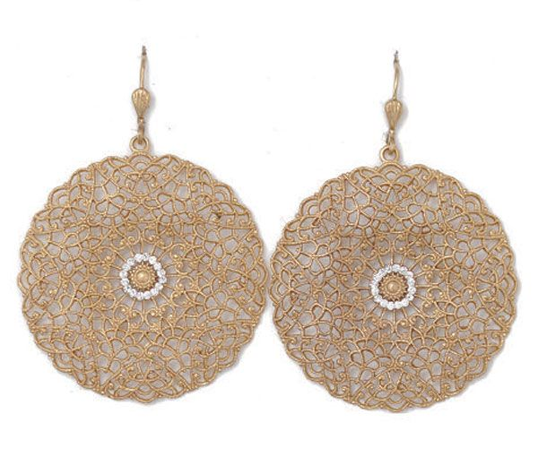 Catherine Popesco Large Lacy Filigree Gold Medallion Earrings