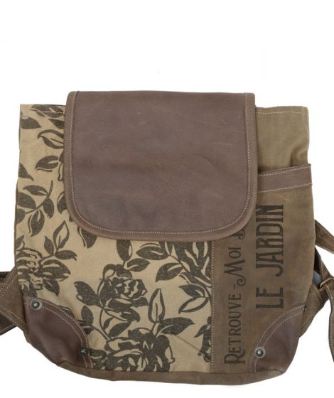 French Le Jardin Floral Print Canvas & Leather Backpack Purse by Clea Ray