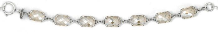 Catherine Popesco Pillow Cut Crystal Bracelet - Champagne and Silver
