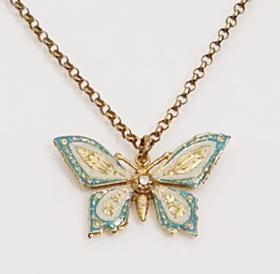 Catherine Popesco French Enamel Butterfly Pendant Necklace - Blue & White