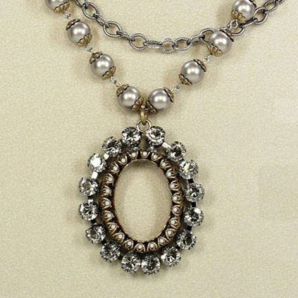 Crystal and Pearl Oval Frame Silver Necklace