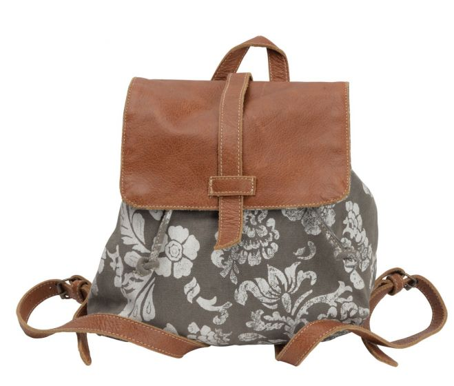 Floral Print Canvas & Leather Backpack Purse by Clea Ray