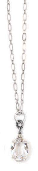 Catherine Popesco Oval Crystal Necklace - Clear and Silver
