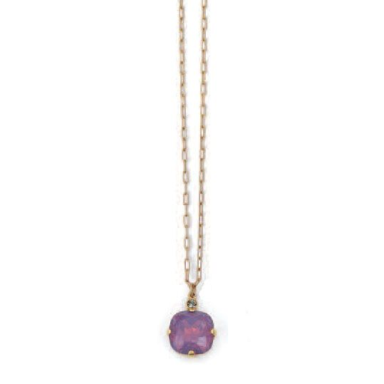 Catherine Popesco Large Stone Crystal Necklace  - Lavender and Gold