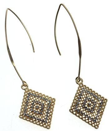 Mat Gold Long Drop Diamond Shape Crystal Earrings by Sweet Lola