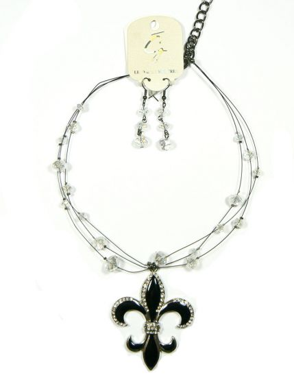 Large Black Enamel Fleur De Lis Necklace and Earrings Other