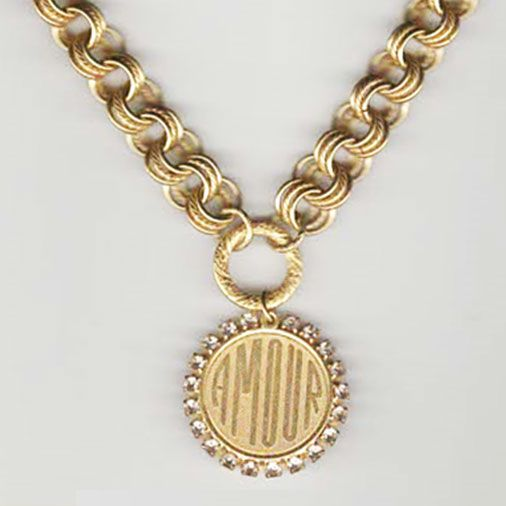 Catherine Popesco Thick Chain Amour Medallion Crystal Pendant Necklace