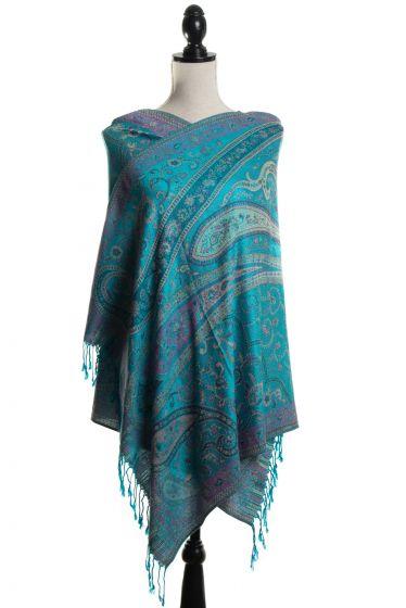 Gorgeous! Silk & Pashmina Paisley Design Turquoise Blue Large Scarf Wrap by Rapti Fashion