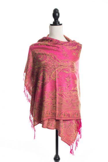 Gorgeous! Silk & Pashmina Paisley Design Fuchsia Pink Kani Shawl Wrap by Rapti Fashion
