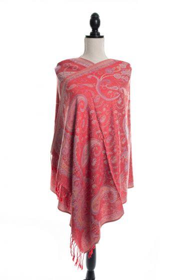 Gorgeous! Silk & Pashmina Paisley Design Red Kani Weave Shawls Scarf Wrap by Rapti Fashion