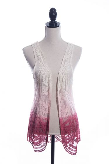 Boho-Chic! Dip Dyed Lace Vest - Origami by Viviene - Ivory to Pink
