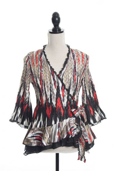 Black & Red Silky Crepe Wrap Top by Jerry T Fashion NY