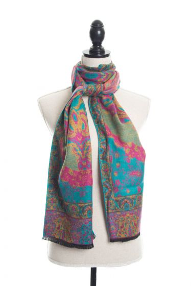 100% Cashmere Floral Paisley Scarf by Rapti - Turquoise & Fuchsia