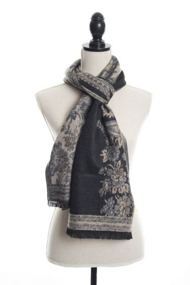 100% Cashmere Floral Paisley Scarf by Rapti Fashion - Black & Tan