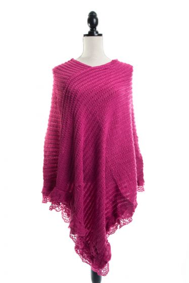 Feminine Lacy Ruffled Sweater Ponchos - Assorted Colors