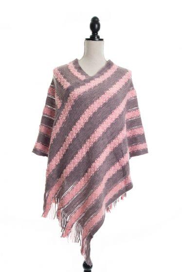 Retro Stripes & Fringe Sweater Ponchos - Pink/Gray