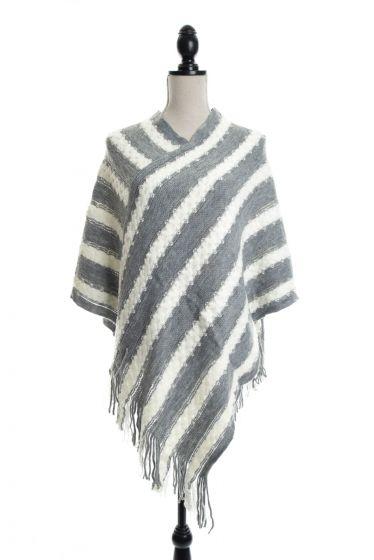 Retro Stripes & Fringe Sweater Ponchos - White/Gray